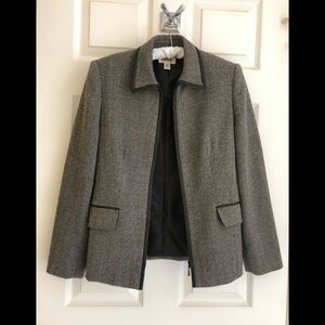 Talbots Wool Chevron Zip Front Leather Trim Jacket